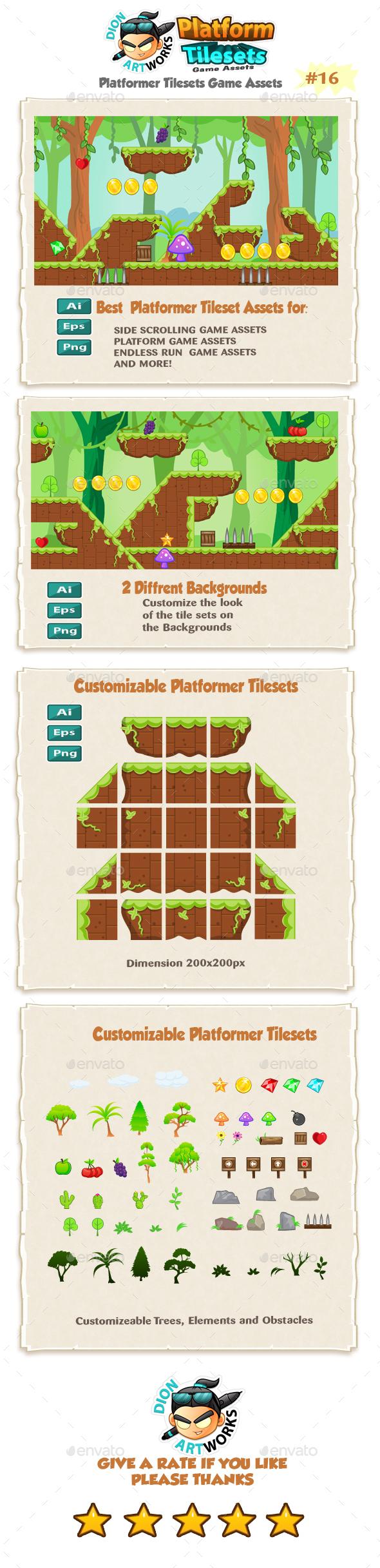 Jungle Platformer Game Tilesets 16 (Tilesets)