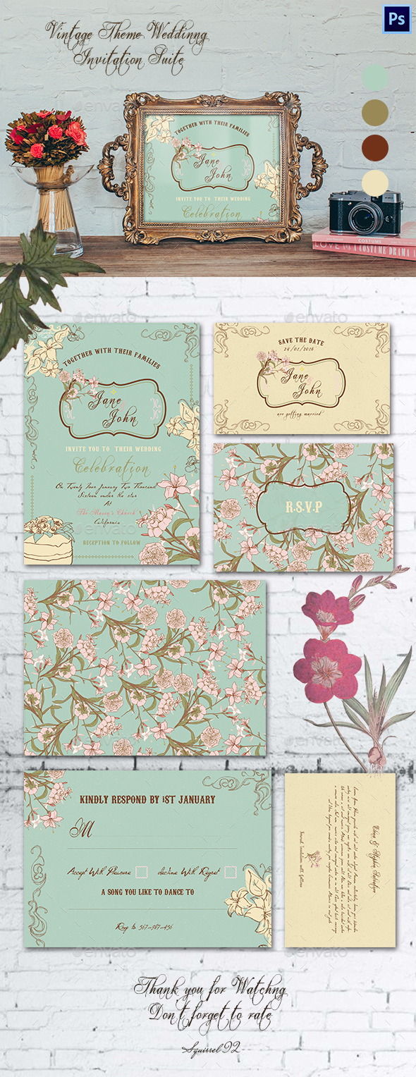 Vintage Theme Wedding Invitation Suite