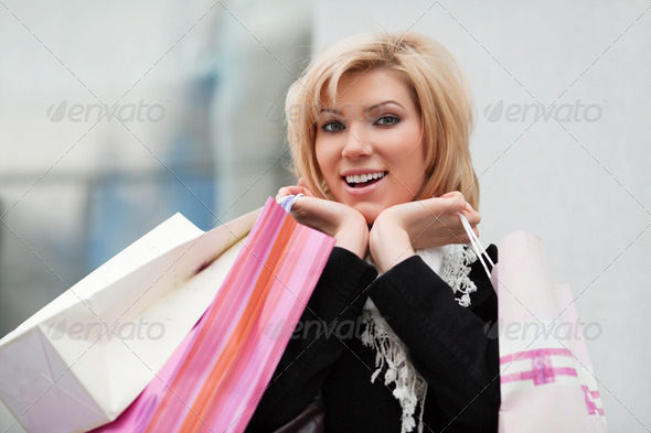Happy Woman With Shopping Bags - Stock Photo - Images