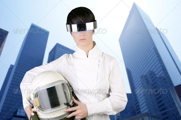 futuristic spaceship aircraft helmet astronaut woman - Stock Photo - Images