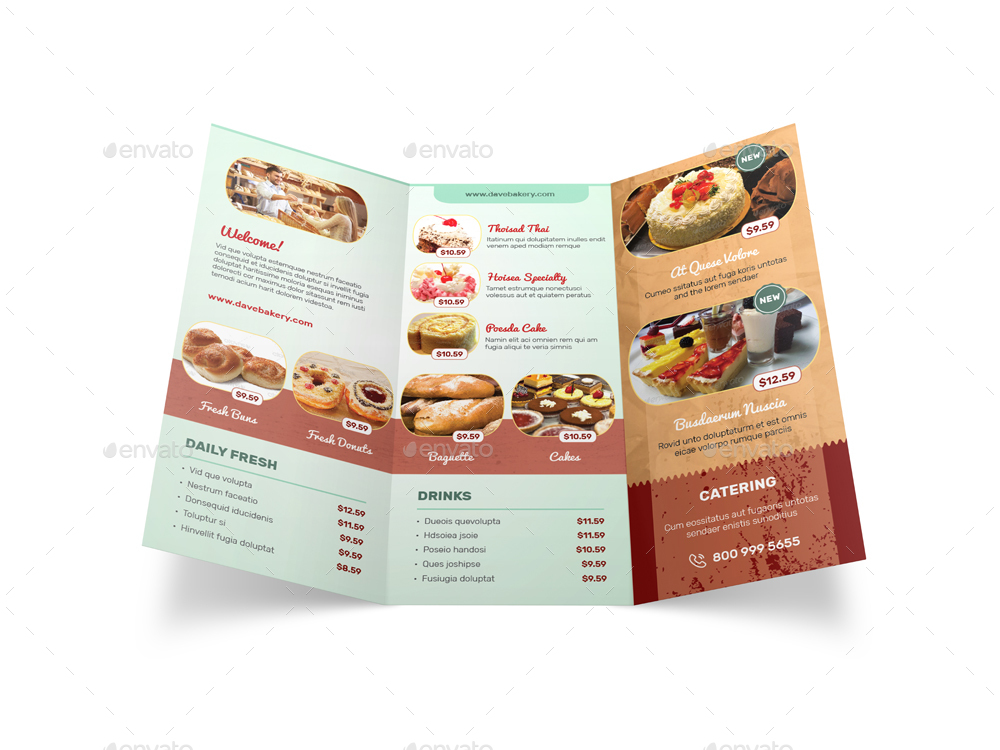 Bakery store trifold brochure by mike pantone graphicriver for Bakery brochure template