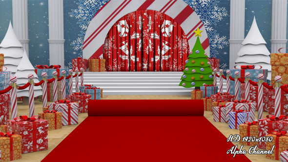 Red Carpet - Christmas Curtain Open by karakos | VideoHive