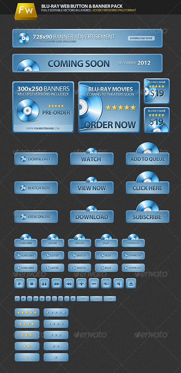 GraphicRiver Blu-ray Web Pack Buttons & Banners 164138