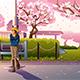 Girl Walking During Cherry Blossom