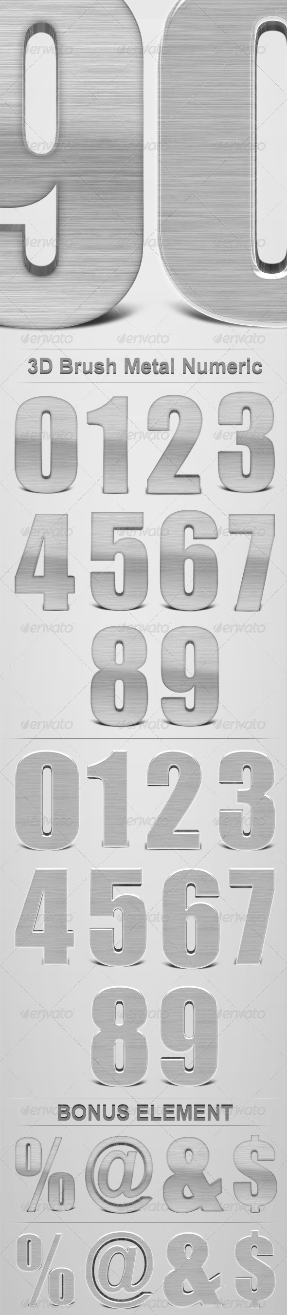 3D Brush Metal Numeric - Miscellaneous Graphics
