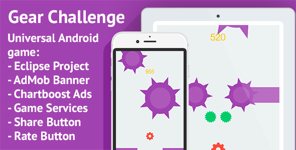 Gear Challenge: Android, AdMob & Chartboost Ads - CodeCanyon Item for Sale