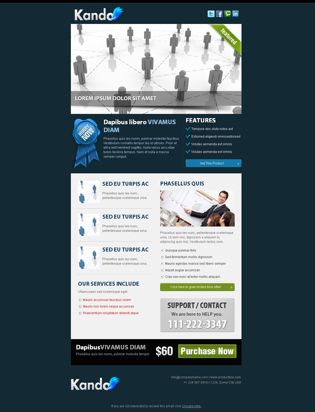Kando Email Template - 6 layout X 7 colors