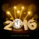 Happy New Year Background with 2016 and Clock