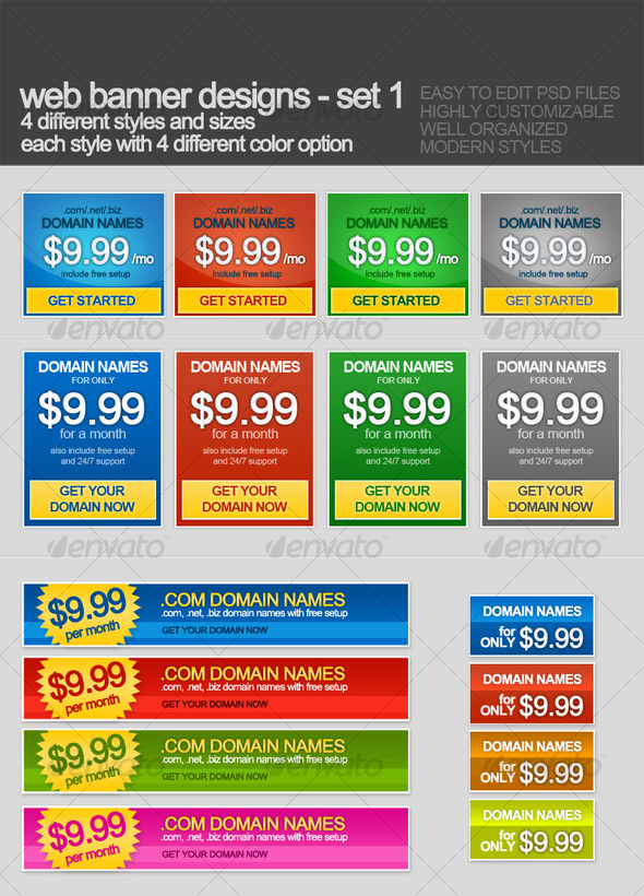 GraphicRiver Web banners with 16 styles and colors 54566