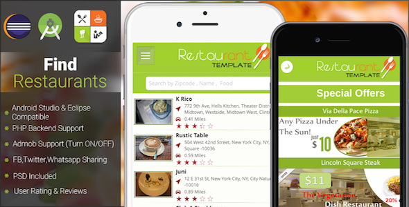 CodeCanyon Restaurant Finder with backend Android Full App 13754849