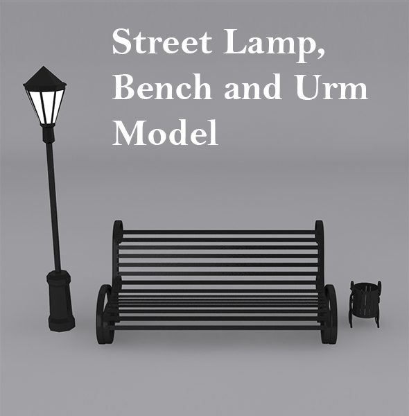 Street Lamp, Bench with Urn Model - 3DOcean Item for Sale