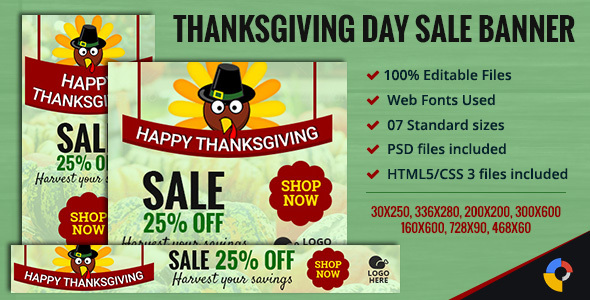 GWD - Thanksgiving Day - Sale Ad Banners - 7 Sizes