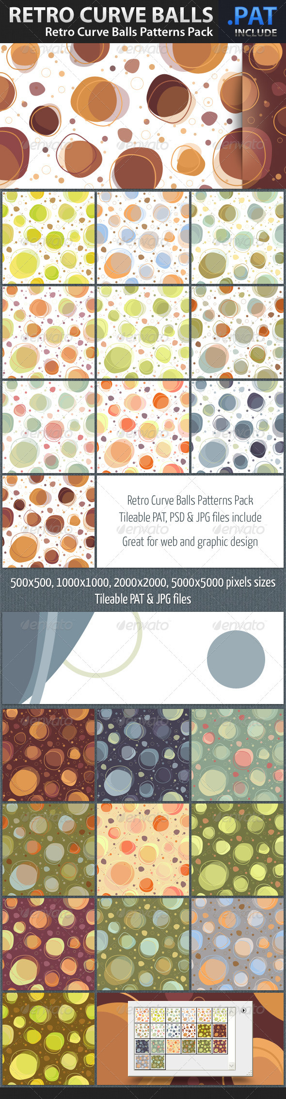 Retro Curve Balls Patterns - Art Textures