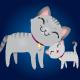 Gray Cat and Kitten Family
