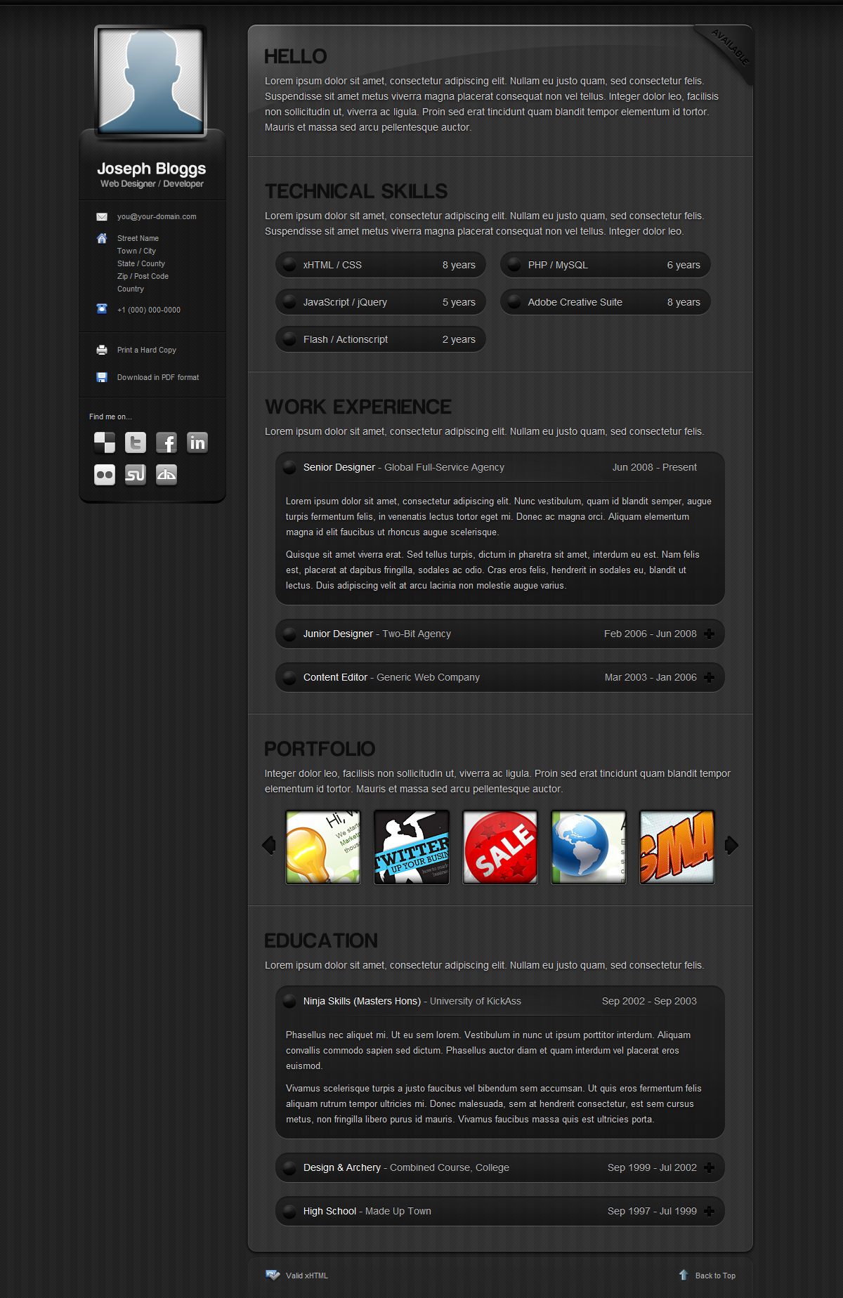 Pinstripe - Premium Resume / CV Template - Screenshot of the Dark Theme of this CV template - a professional pinstripe style with slick jQuery effects