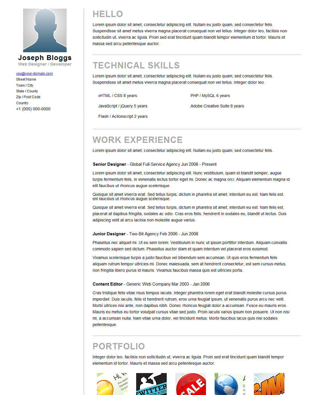 Pinstripe - Premium Resume / CV Template - Comes with print stylesheet, this is how your CV will look if they hit print.