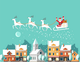 Santa on Sleigh and his Reindeers Winter Town