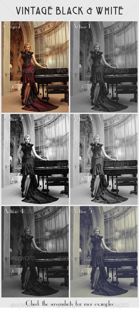 GraphicRiver 5 Vintage Black & White Actions 1376904