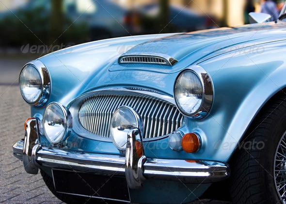 PhotoDune A classic shiny metallic blue sports car 1377592