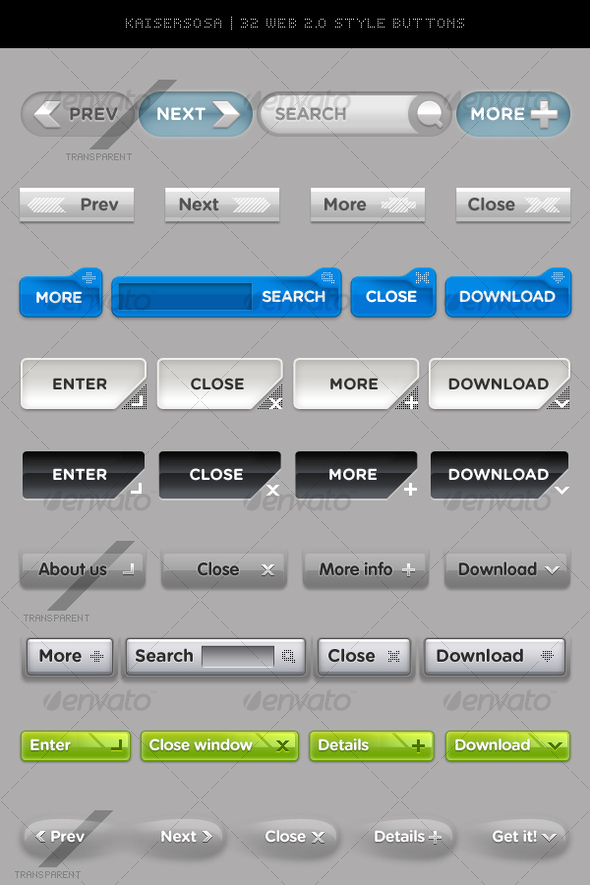GraphicRiver 32 Web 2.0 style Buttons 54627