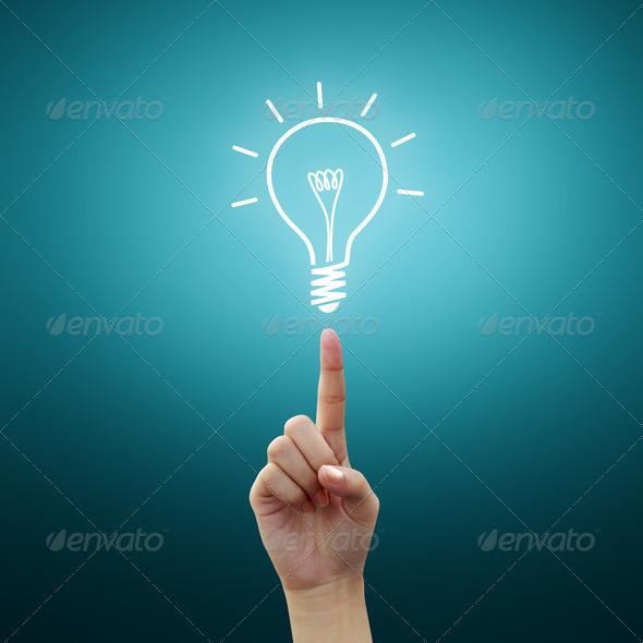 Light bulb on women Fingertip