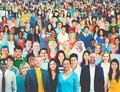 Large Group of Diverse Multiethnic Cheerful People Concept