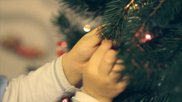 Boy Decorating Christmas Toy Christmas Tree