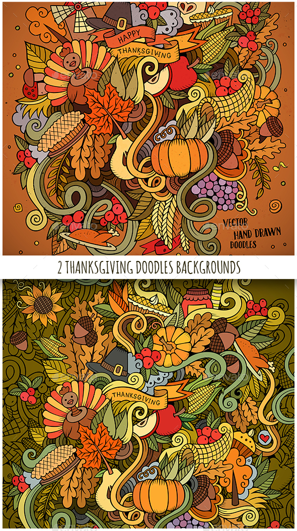 Happy Thanksgiving Doodles Designs