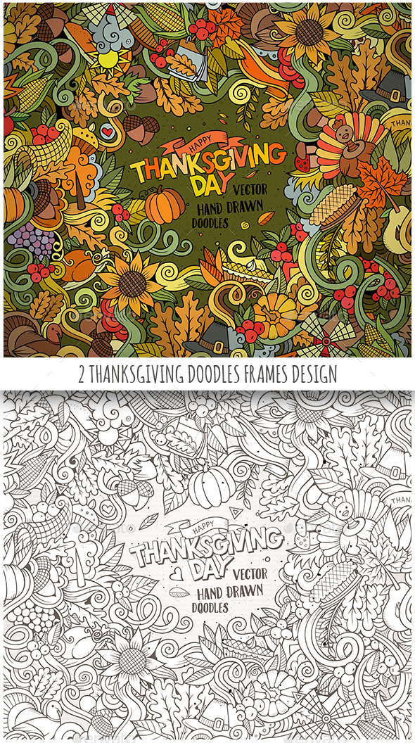 2 Happy Thanksgiving Doodles Frames