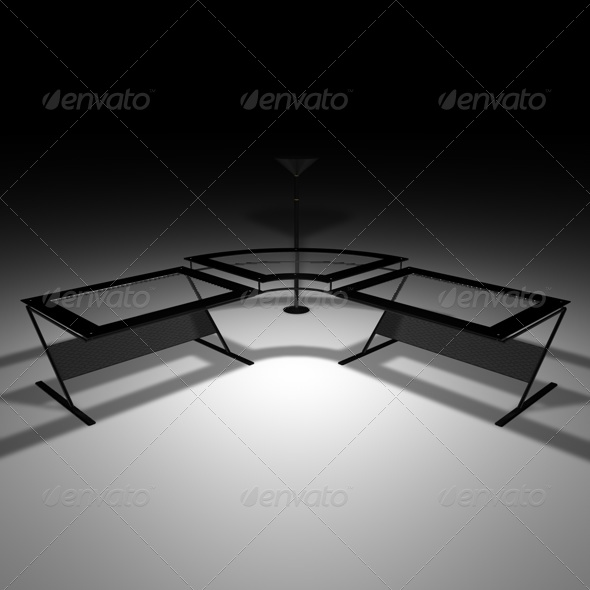 3DOcean Black glass desk 164602