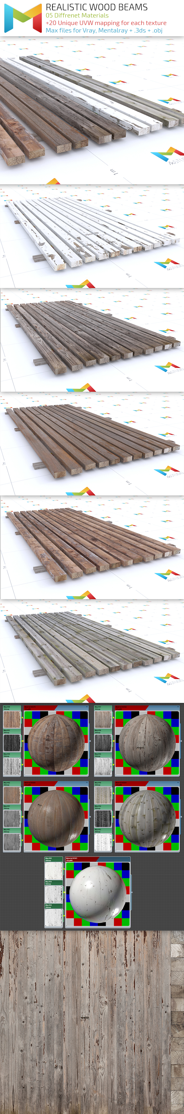 Realistic Wood Beams - 3DOcean Item for Sale