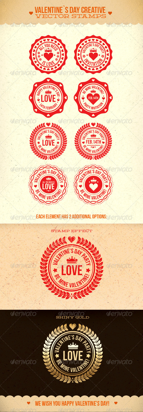 Valentine's Day Creative Vector Stamps - Valentines Seasons/Holidays