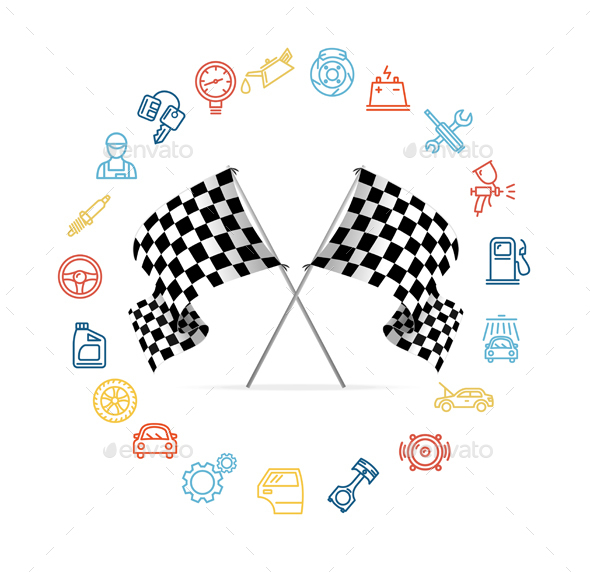 Car Icon Set and Checkered Flags Motor Racing.
