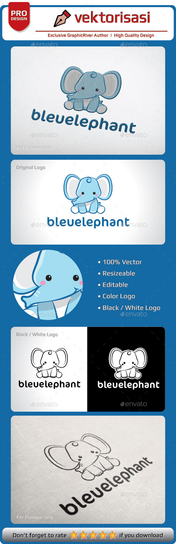 bleuelephant logo template