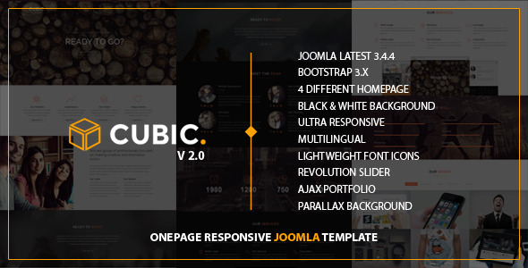 Image of Cubic - One Page Responsive JOOMLA Template