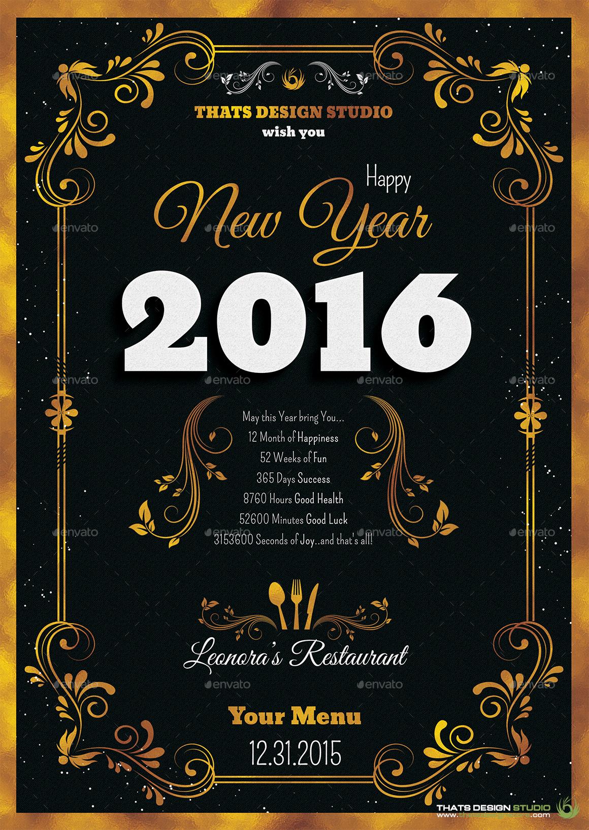 new years menus