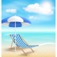 Beach with Sun Umbrella Chair and Clouds