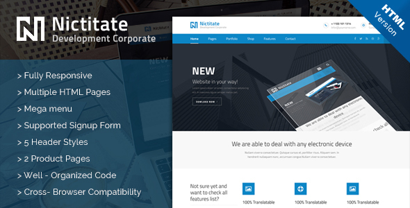Nictitate - HTML5 Template