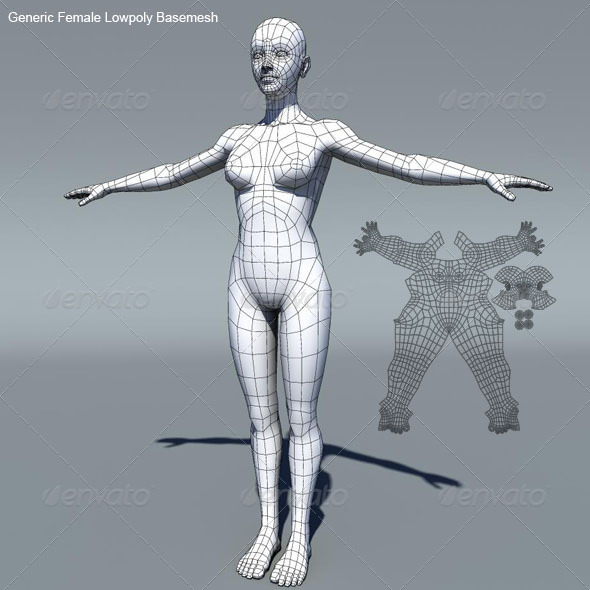 Generic Female Low Poly Base Mesh  - 3DOcean Item for Sale