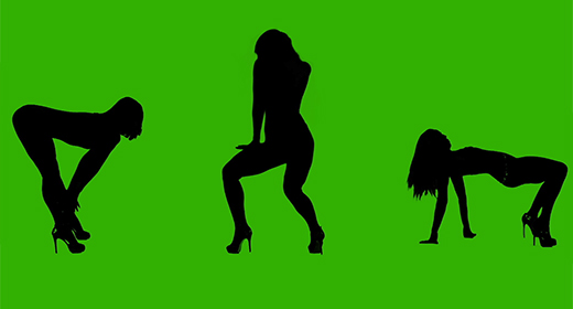 Silhouette of dancing female on green background