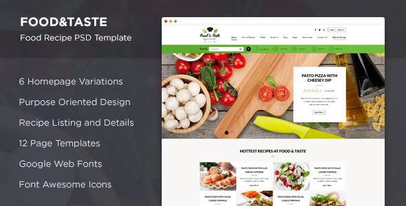 Food & Taste – Recipe PSD Template (Food) images