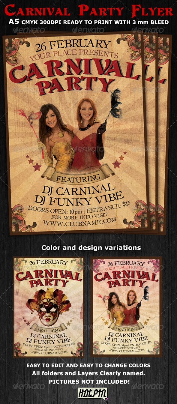 Carnival club party flyer template is a vintage design psd template ...