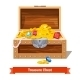 Treasure Chest Full of Gold Coins and Crystal Gems