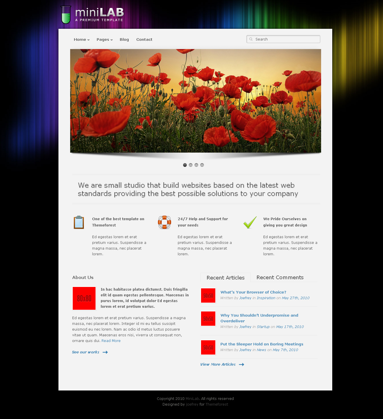 Mini Lab - Premium Wordpress Theme 15 in 1
