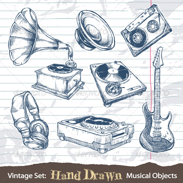 GraphicRiver Set of hand drawn musical objects 164952