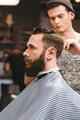 Professional hairdresser cutting bearded man's hair