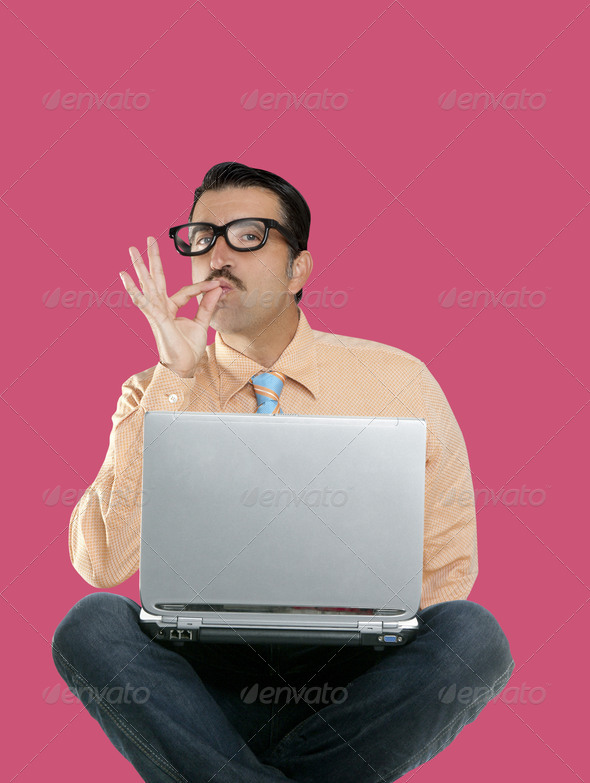 geek man sit laptop computer ok positive gesture - Stock Photo - Images