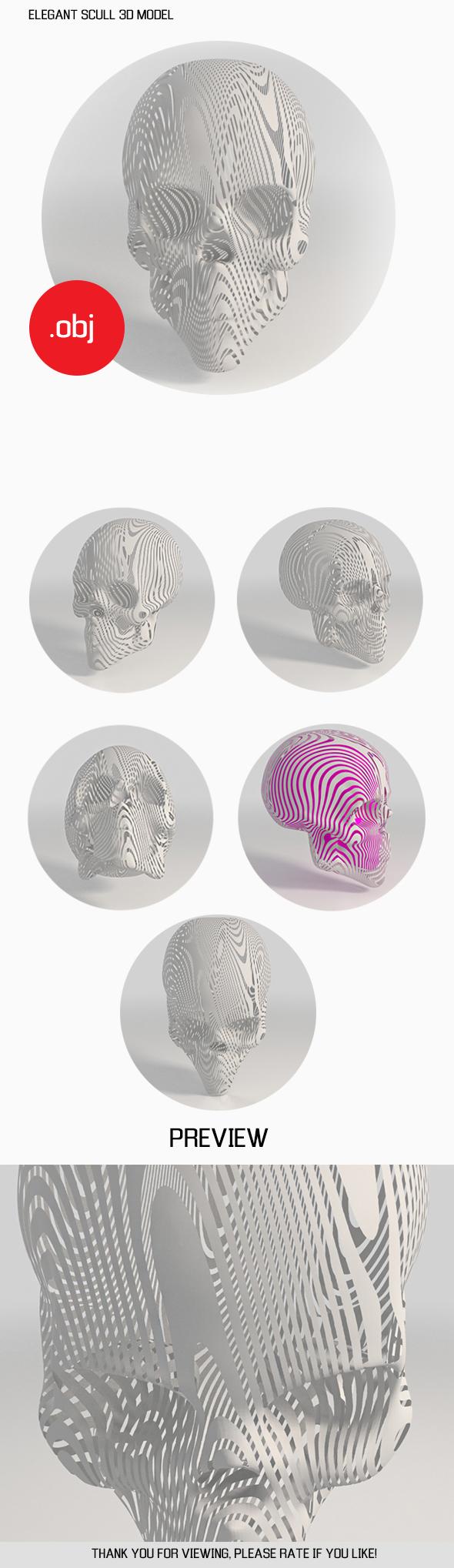 ELEGANT SCULL 3D MODEL - 3DOcean Item for Sale