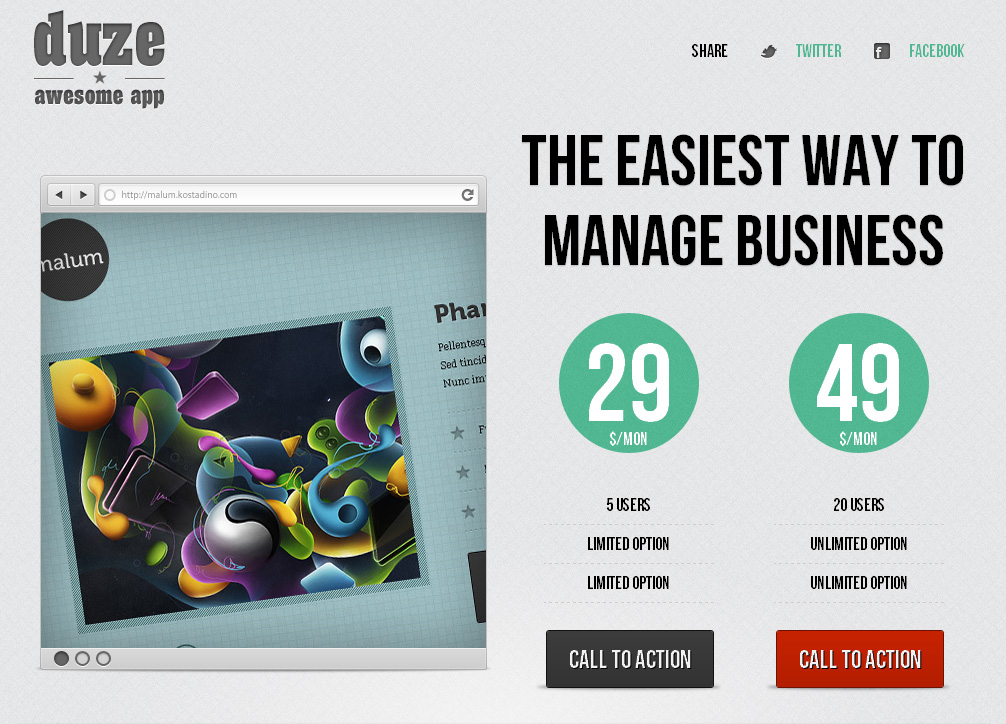 Duze landing page HTML template
