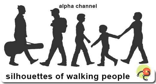 Silhouette of walking people